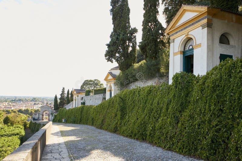 蒙塞利切,意大利- 2017年7月13日:别墅Dudo 七个教会复合体  库存照片