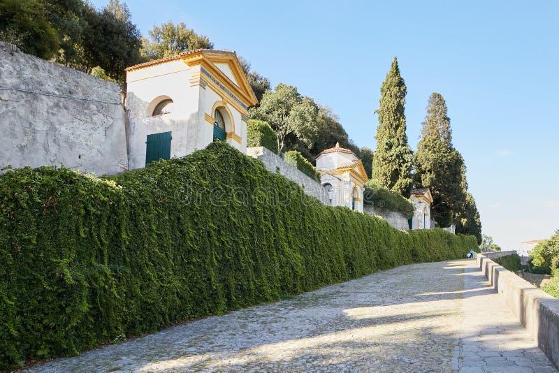 蒙塞利切,意大利- 2017年7月13日:别墅Dudo 七个教会复合体  免版税图库摄影