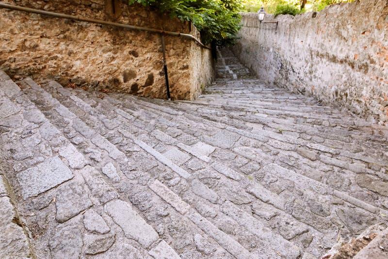 蒙塞利切,意大利- 2017年7月13日:别墅Mocenigo娜妮楼梯在蒙塞利切 库存照片