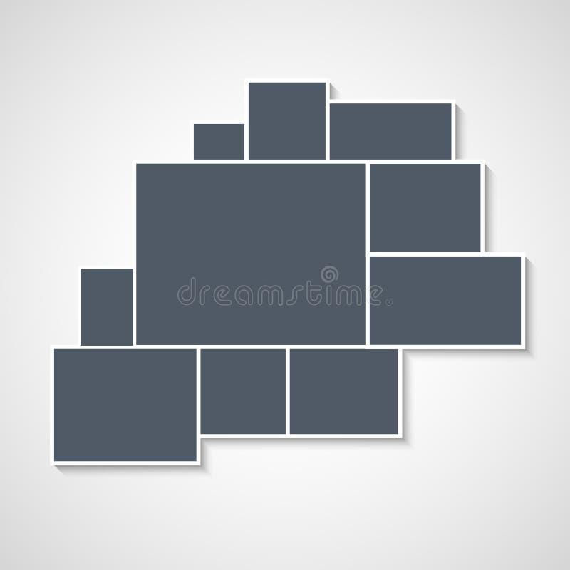 蒙太奇拼贴画照片框架模板 图象图片背景蒙太奇海报设计 皇族释放例证