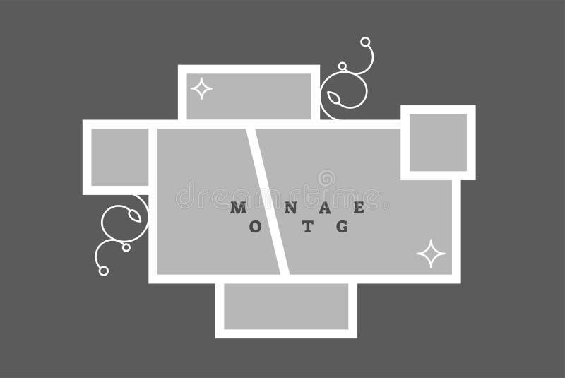 蒙太奇拼贴画照片框架装饰构成空白模板,传染媒介设计 库存例证