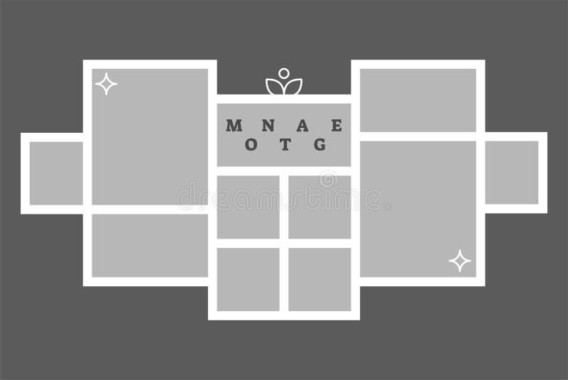 蒙太奇拼贴画照片框架装饰构成空白模板,传染媒介设计 皇族释放例证