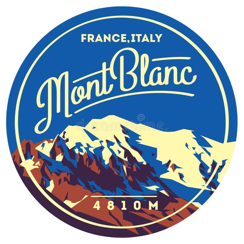 蒙布朗在阿尔卑斯,法国,意大利室外冒险徽章 在欧洲例证的高山 皇族释放例证