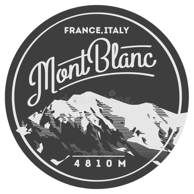 蒙布朗在阿尔卑斯,法国,意大利室外冒险徽章 在欧洲例证的高山 库存例证