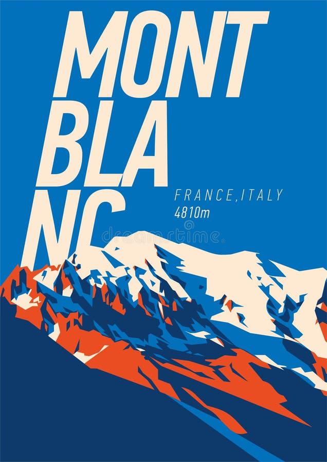 蒙布朗在阿尔卑斯,法国,意大利室外冒险海报 在欧洲例证的高山 皇族释放例证