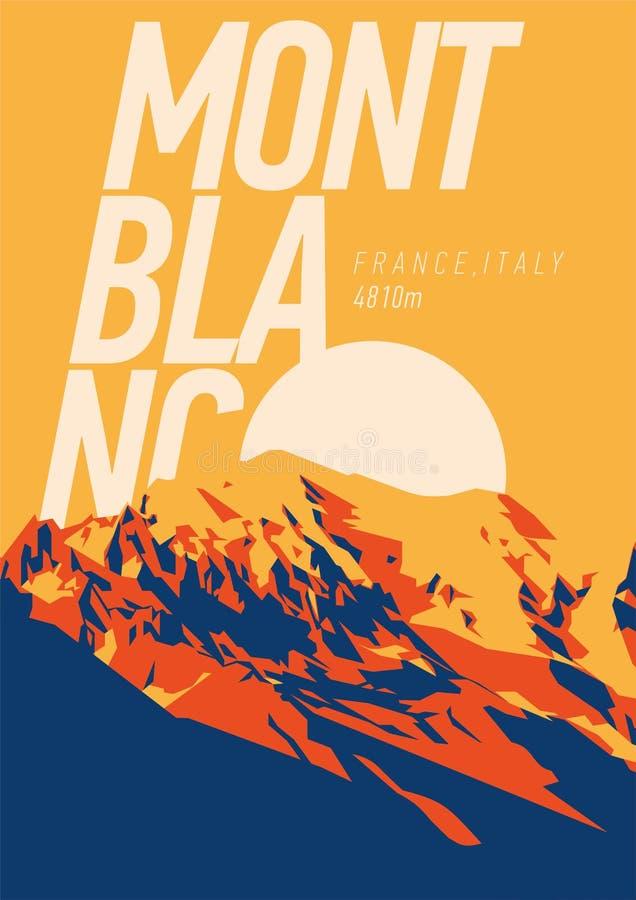 蒙布朗在阿尔卑斯,法国,意大利室外冒险海报 高山在日落例证的欧洲 向量例证