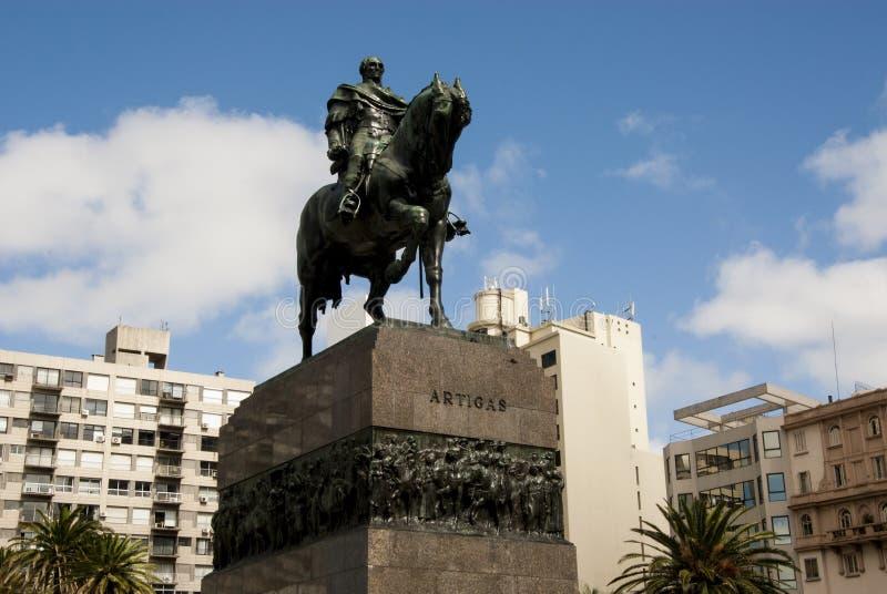 蒙得维的亚,乌拉圭广场Independencia 免版税库存照片