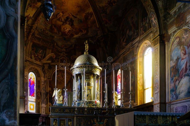 蒙扎, ITALY/EUROPE - 10月28日:主教的座位的内部看法 库存图片