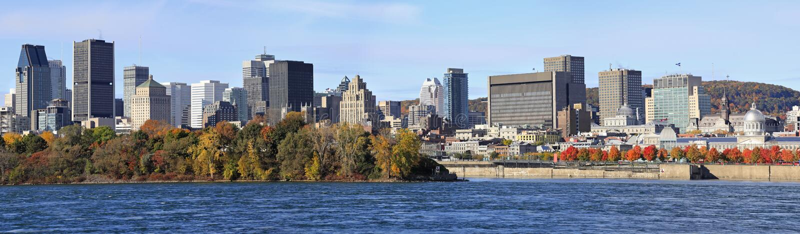 蒙特利尔地平线和圣劳伦斯河在秋天,魁北克 免版税库存照片