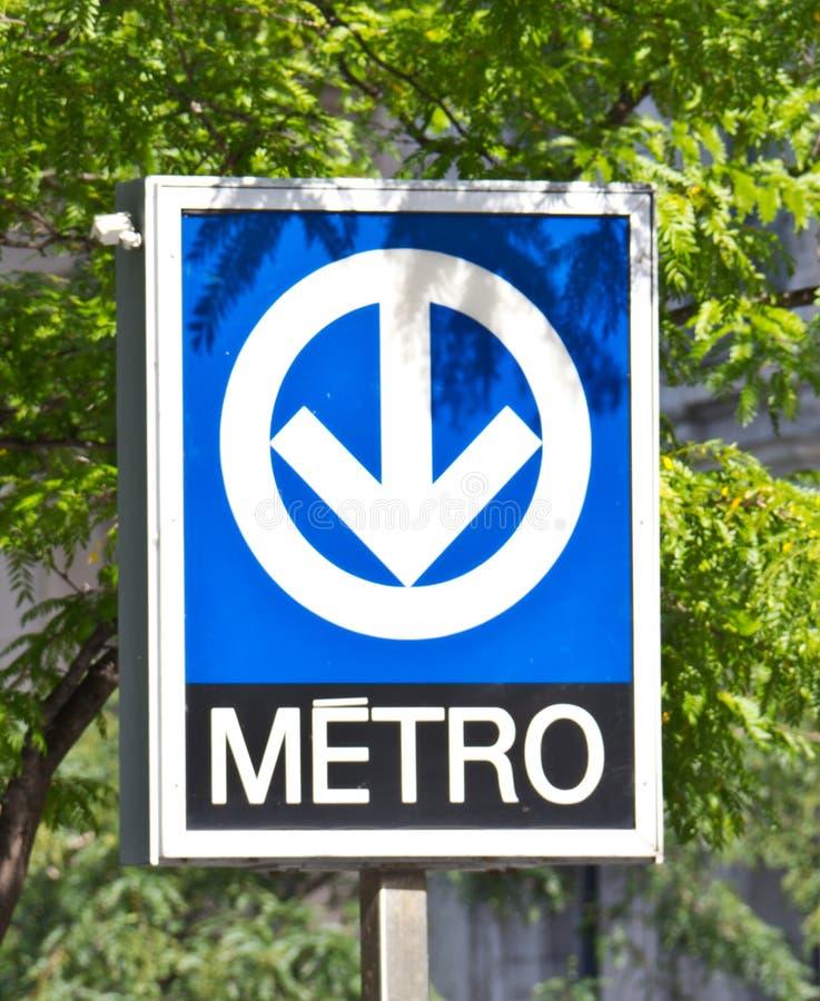 蒙特利尔地铁地铁系统的特别标志 免版税库存照片