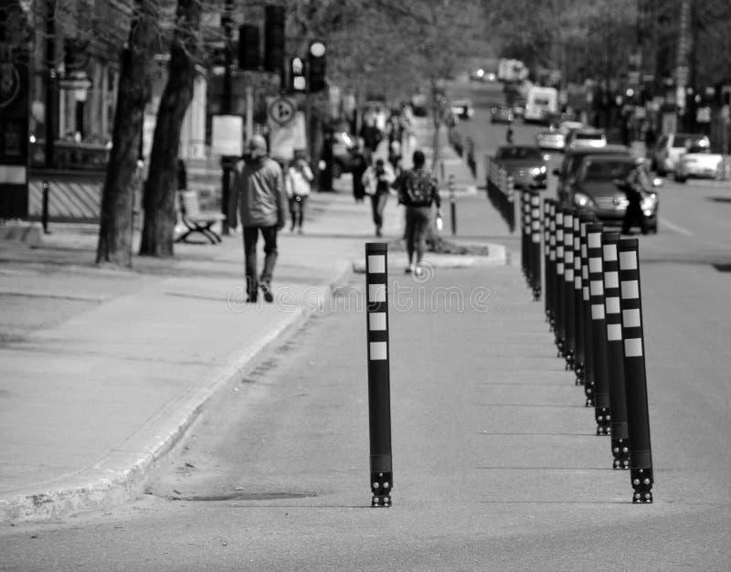 蒙特利尔市区蒙克兰街卫生走廊人行道 库存照片