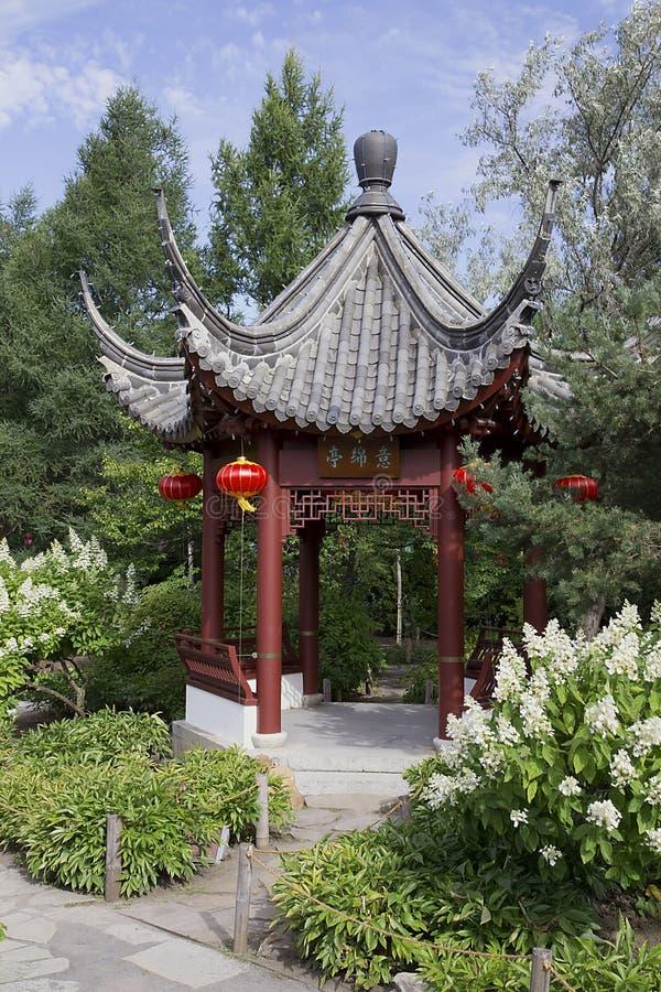 蒙特利尔植物园的塔 免版税库存图片