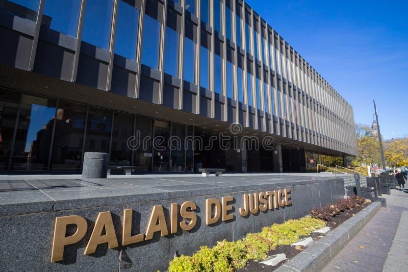 蒙特利尔法院大楼,亦称Palais de Justice,在街市 这是蒙特利尔和魁北克判决的主要正义法院 免版税库存照片