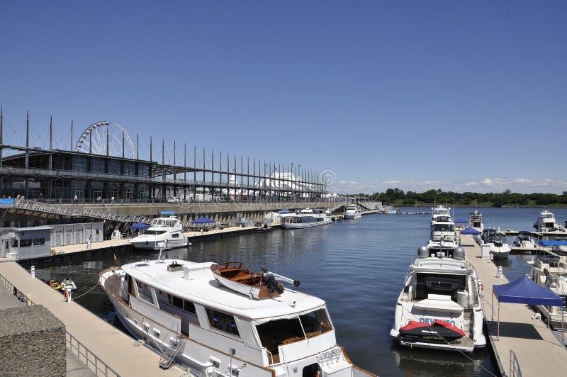 蒙特利尔, 6月26日:从蒙特利尔Vieux港的奎伊雅克・卡蒂埃在加拿大 免版税库存图片