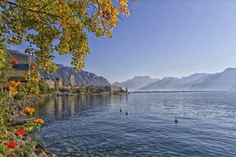 蒙特勒和莱芒湖在瑞士 免版税库存图片