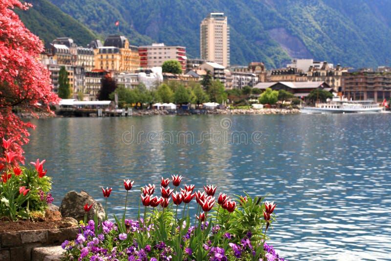 蒙特勒和莱芒湖,瑞士。 免版税库存图片