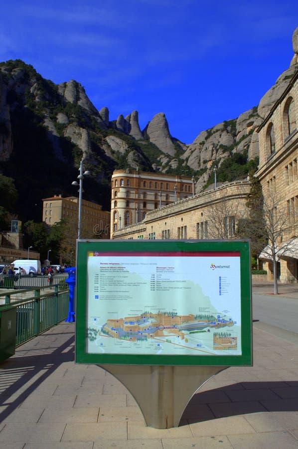 蒙特塞拉特修道院信息板,西班牙 图库摄影