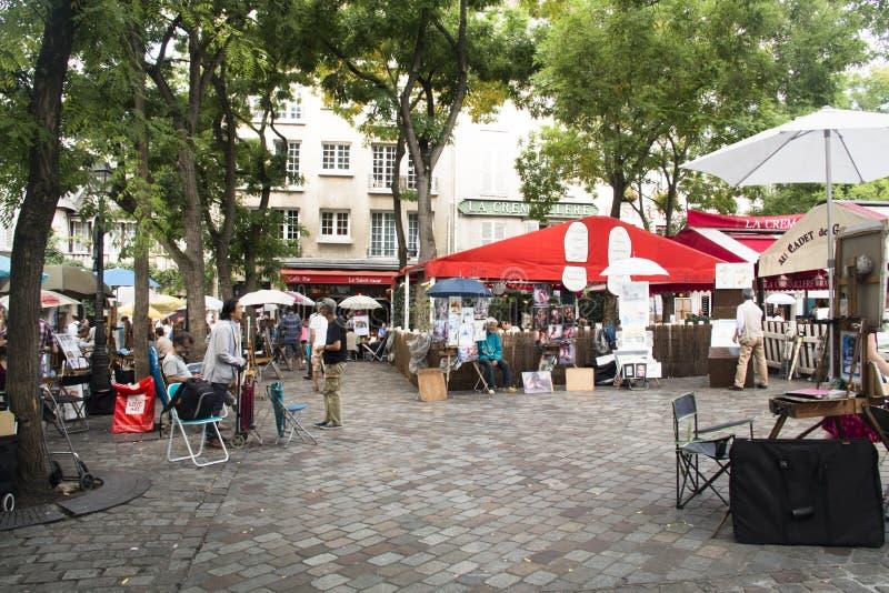 蒙马特的人们在巴黎 免版税图库摄影