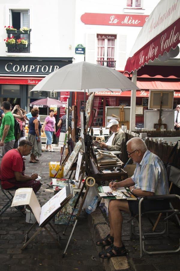 蒙马特的画家在巴黎 库存照片