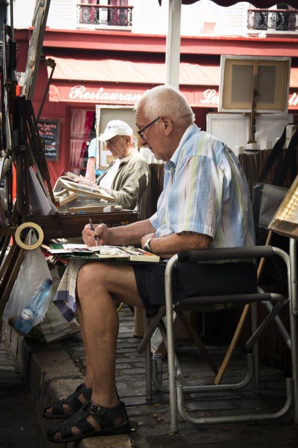 蒙马特的画家在巴黎 免版税库存照片