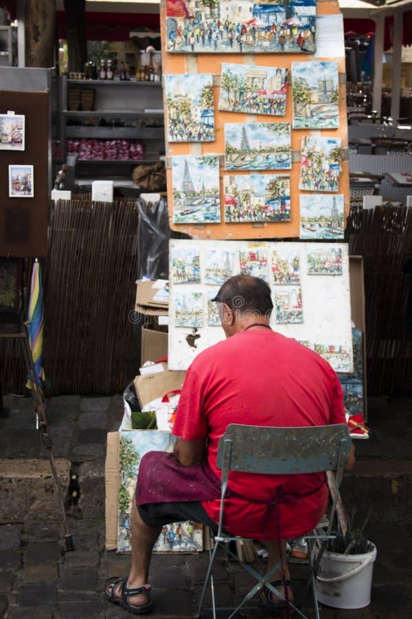 蒙马特的画家在巴黎 库存图片