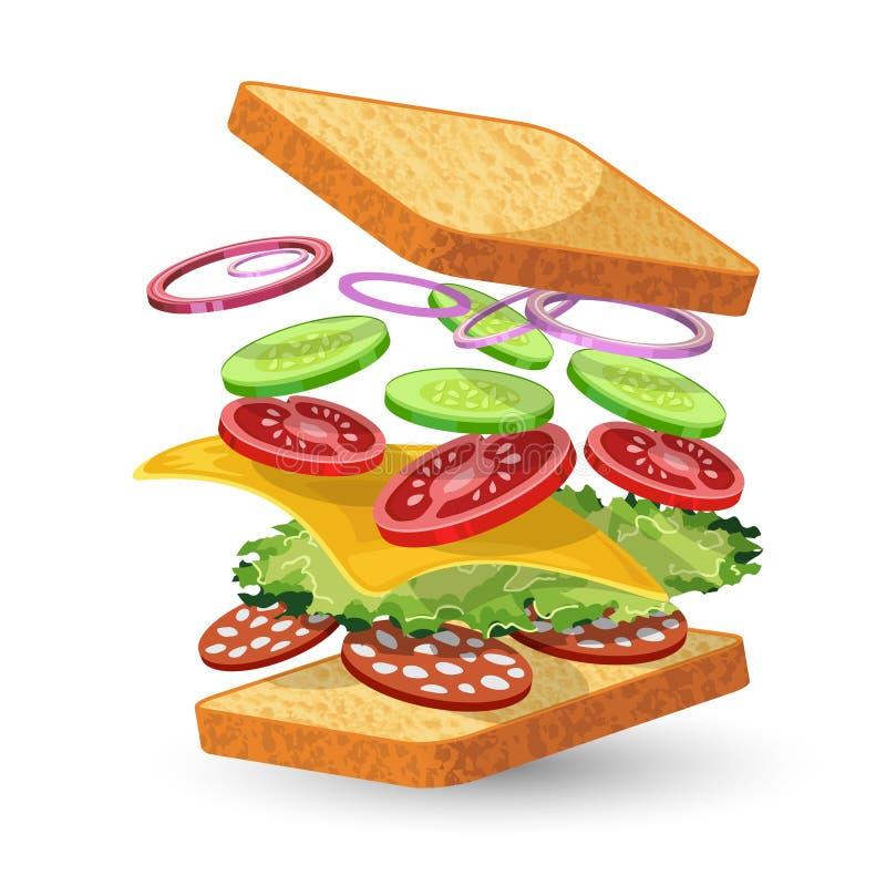 蒜味咸腊肠三明治成份象征 皇族释放例证