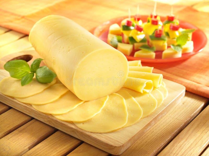蒜味咸腊肠乳酪 库存照片