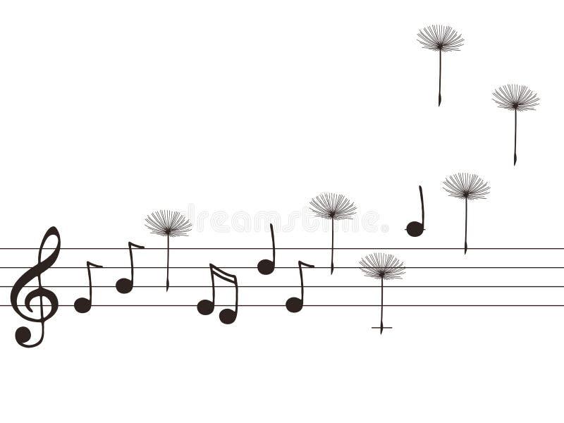 蒲公英例证音乐附注 向量例证