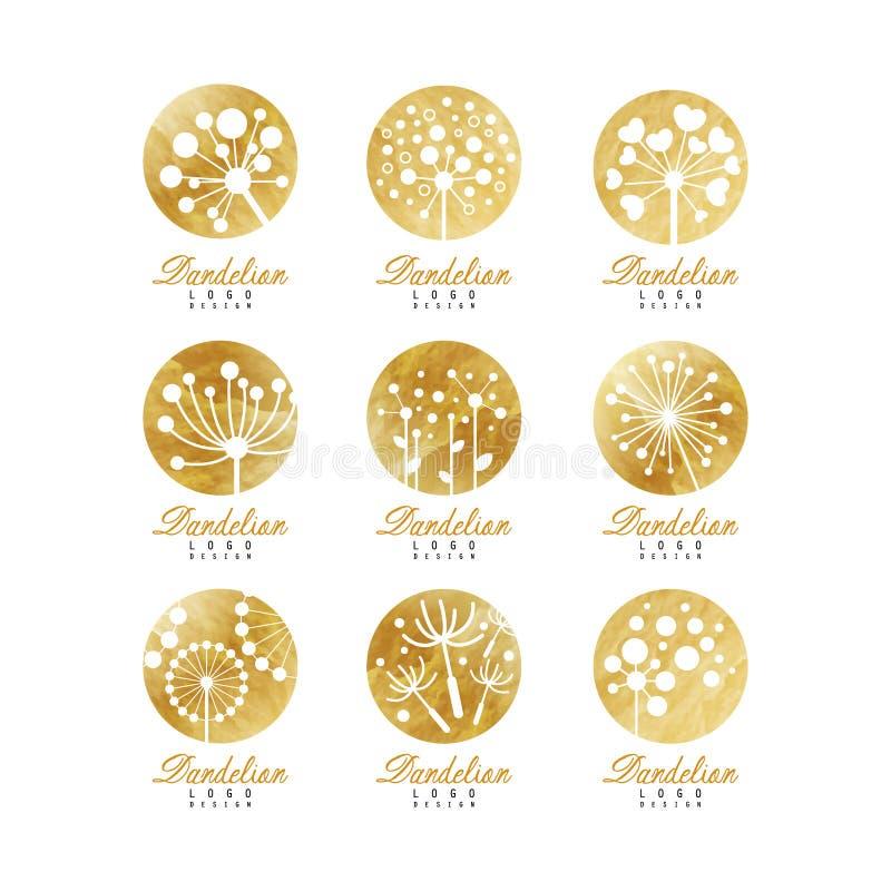 蒲公英商标模板集合,您自己的美好的自然徽章设计传染媒介例证 皇族释放例证