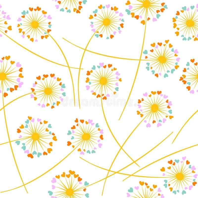 蒲公英空气压缩机装置传染媒介花卉无缝的样式 与心形的瓣的花 皇族释放例证