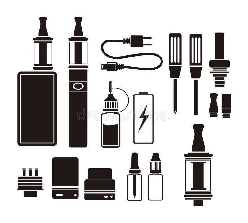 蒸发器成套工具-剪影 皇族释放例证