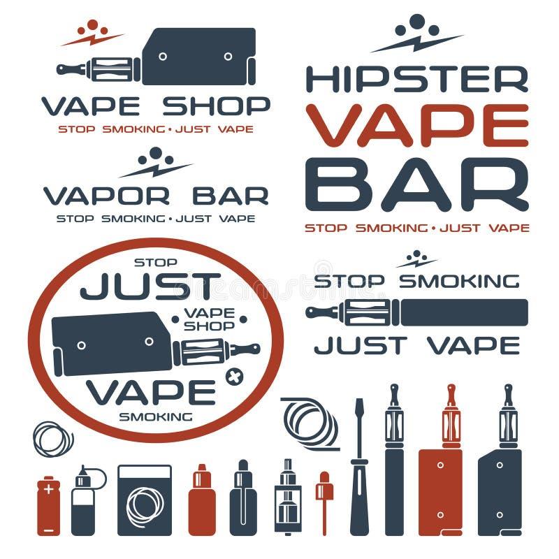 蒸气酒吧和Vape商店商标 库存例证