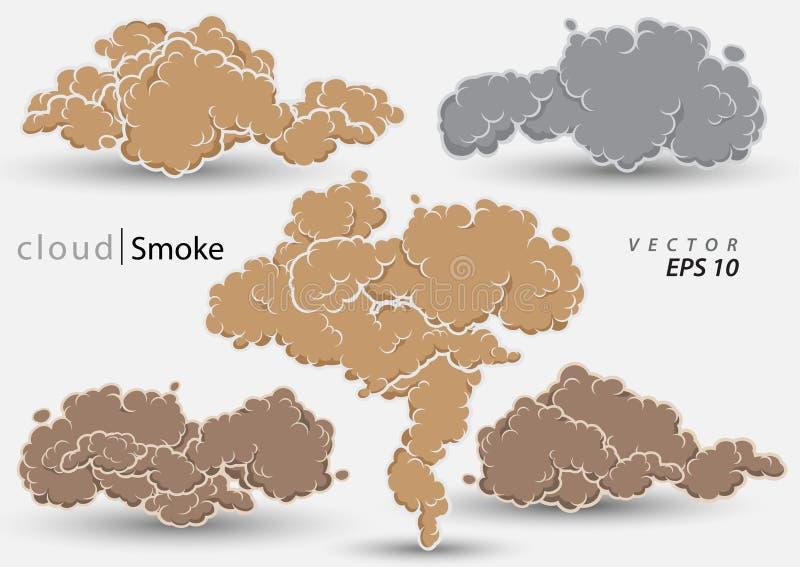 蒸汽云彩集合 动画片烟传染媒介例证 库存例证