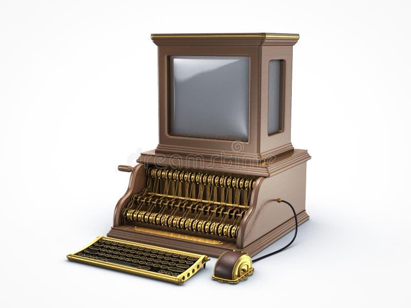 蒸汽低劣的葡萄酒计算机 皇族释放例证