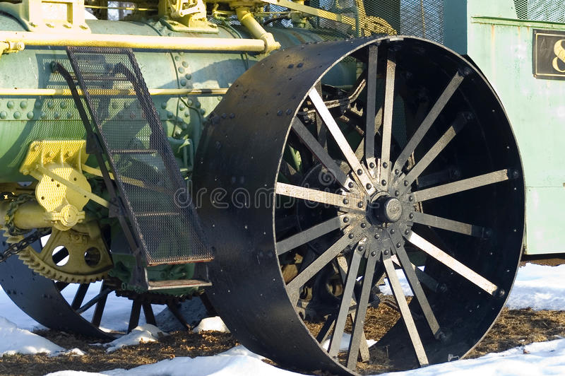 蒸汽供给动力的拖拉机的细节 免版税库存照片
