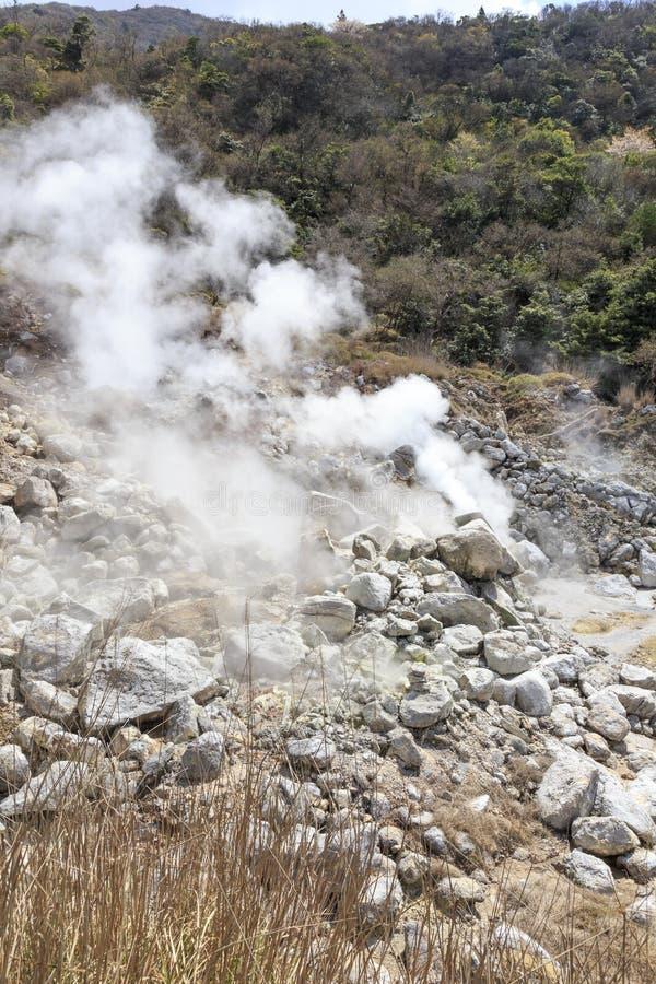 蒸汽和温泉在Unzen山在日本 库存图片