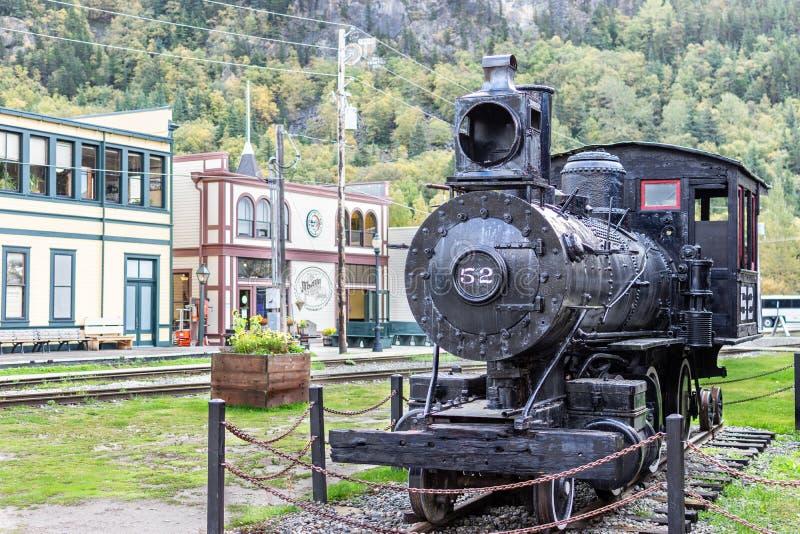 蒸汽引擎机车52在史凯威阿拉斯加 库存图片