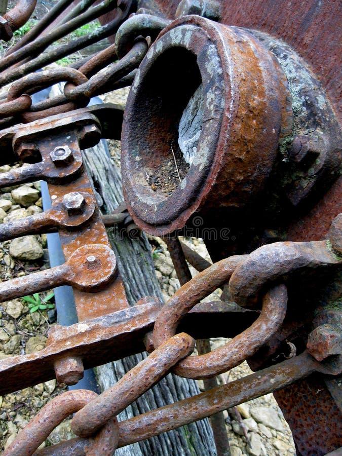 蒸汽引擎的生锈的老车灯 免版税库存图片