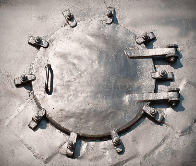 蒸汽引擎锅炉门的前面部分 免版税库存照片