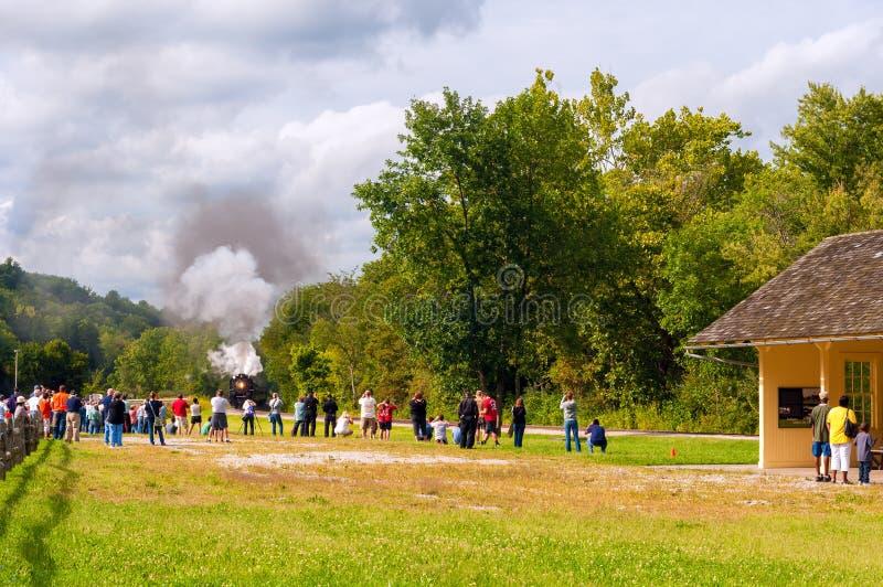 蒸汽操作火车的照片 图库摄影