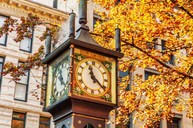 蒸汽时钟在Gastown区,温哥华,BC不列颠哥伦比亚省 库存照片