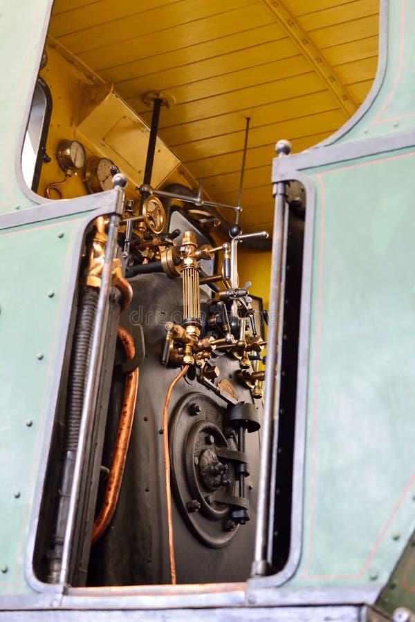 蒸汽机车、锅炉和测量仪的控制 免版税库存图片