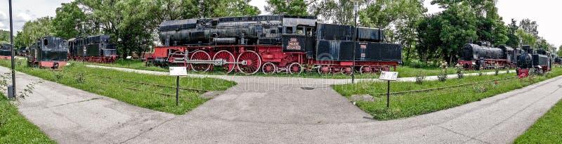 蒸汽机车公园的全景在Resita,罗马尼亚 免版税库存照片