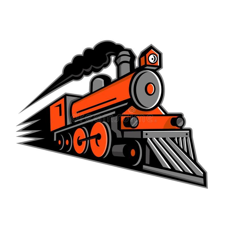 蒸汽机车加速的吉祥人 向量例证