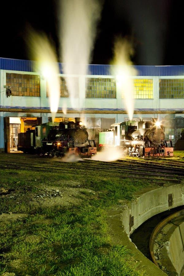 蒸汽机车在集中处在晚上,科斯托拉茨,塞尔维亚 库存照片