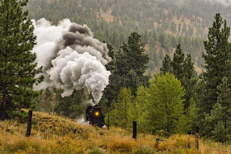 蒸汽机车火车在Summerland不列颠哥伦比亚省加拿大附近的Okanagan谷 库存图片