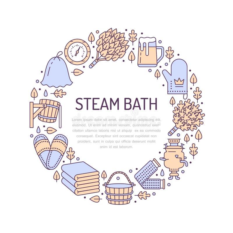 蒸汽浴,蒸汽浴室与平的线象的横幅例证 卫生间设备桦树,橡木笤帚,桶,啤酒 皇族释放例证