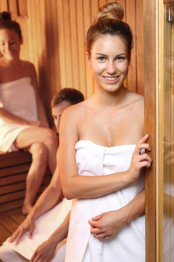 蒸汽浴 放松在蒸汽浴 库存照片
