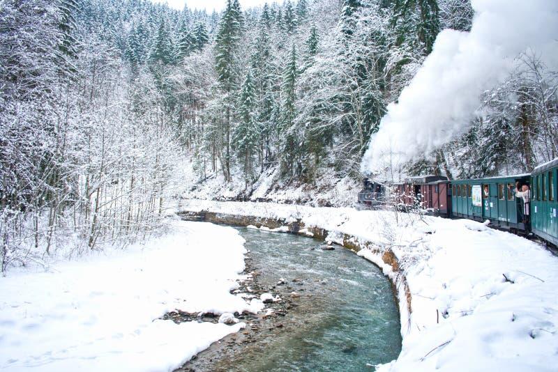 蒸汽火车在冬天 免版税库存图片