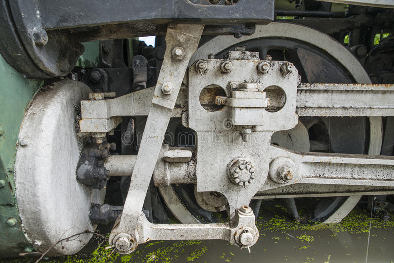 蒸汽火车轮子特写镜头  免版税库存图片